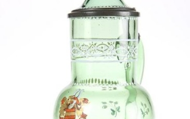 AN ENAMELLED GREEN GLASS ARMORIAL STEIN, C.1900, with