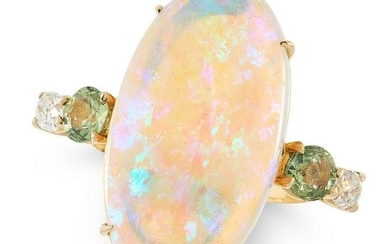 AN OPAL, GREEN SAPPHIRE AND DIAMOND RING set with an