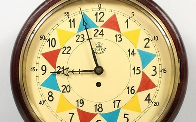 AN RAF STYLE SECTOR FUSEE WALL CLOCK. 15ins diameter.