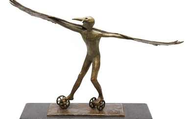 ANTHONY VANDERZWEEP (born 1960) Icarus 2020 bronze on blue stone ed. 1/6 artist stamp, date and edition on base
