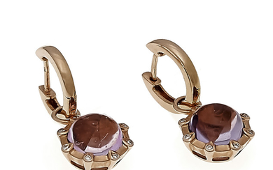 Amethyst brilliant earrings RG 585/000 with 2 round...