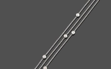 An 18 Carat White Gold Diamond Three Row Necklace, formed...
