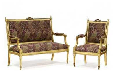 An Antique Louis XVI Style Carved and Gilt Settee and