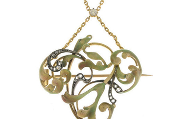 An Art Nouveau gold, diamond and enamel brooch/pendant, with old-cut diamond accent chain.