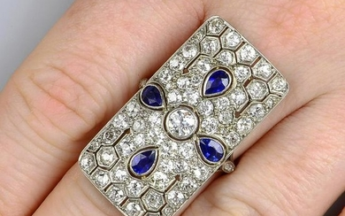 An old-cut diamond and sapphire openwork panel