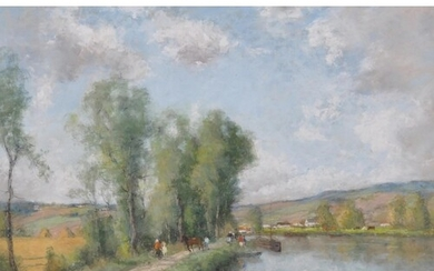 Andres des Fontaines (1869-1910) French. A River Landscape, ...