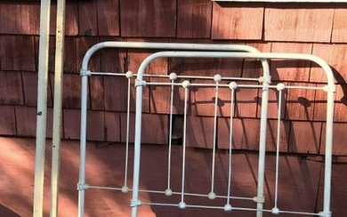 Antique C 1900 White Painted Iron Bed