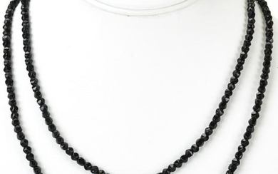 Antique Hand Faceted Jet Bead Necklace Strand