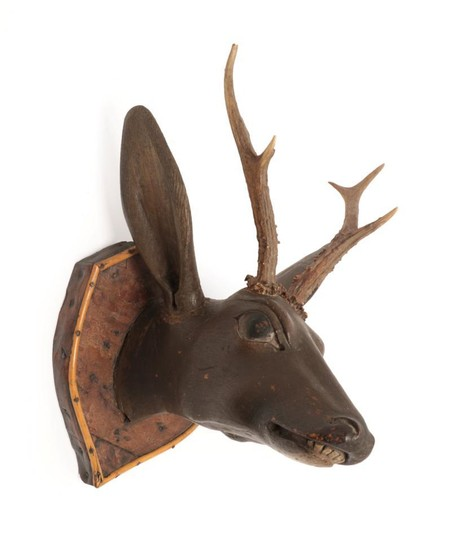 Antlers/Horns: An Austro-German Carved Wood Head of a Roebuck, circa...