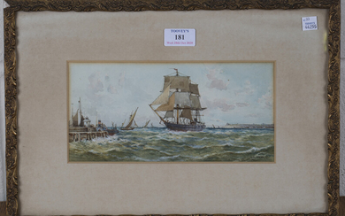 Archibald Webb - Sailing Vessel approaching a Harbour Wall, watercolour, signed and dated '93