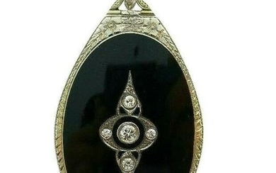 Art Deco 18K White Gold Black Onyx Diamond Locket