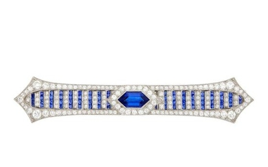 Art Deco Platinum, Sapphire and Diamond Bar Pin