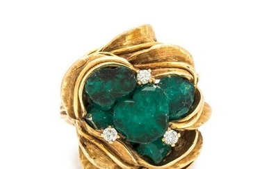 BRUTALIST, SYNTHETIC EMERALD AND DIAMOND RING