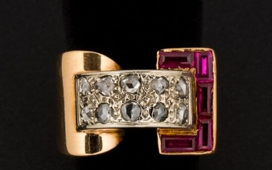 """Ring """"tank"""" rose cut diamonds, calibrated red stones, gold setting..."""