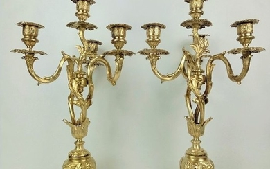 Beautiful large bronze French candlesticks (2) - Rococo Style - Bronze - Late 19th century