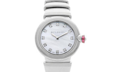 Bvlgari | LVCEA, A New Old Stock Lady's Stainless Steel Bracelet Watch with Mother-of-pearl dial and diamond-set hour indexes, Circa 2019