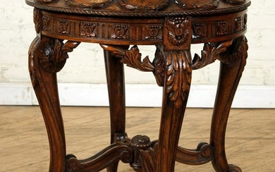 CARVED BEECH FRENCH MARBLE TOP TABLE C.1910