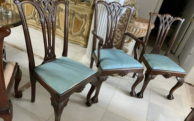 CARVED FRENCH CHERRY WOOD BLUE SEAT CHAIRS X 3