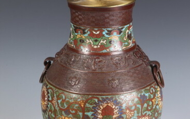 CHAMPLEVE ENAMELED BRONZE BALUSTER FORM VASE MOUNTED AS TABLE LAMP,...