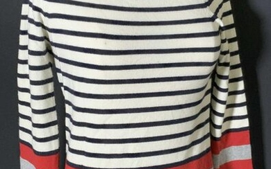 CHANEL Striped Red & White Sweater