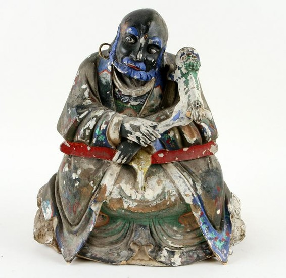 CHINESE CARVED FIGURE SEATED WISE MAN AND DOG