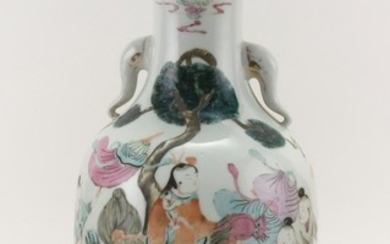 CHINESE FAMILLE ROSE PORCELAIN VASE In baluster form, with elephant's-trunk handles at neck showing traces of gilding, and decoratio..