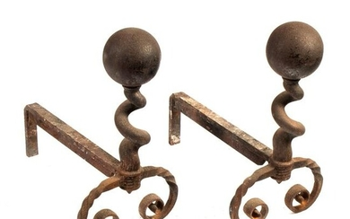 Cannonball Antique Heavy Andiron Fire Dog SET PAIR