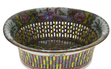 Chinese Famille Rose Reticulated Porcelain and Enamel Basket Bowl.