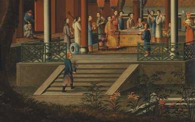 Chinese School, 19th Century, An Imperial party and attendants on a palatial terrace