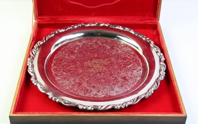 Circular Silver Plated Serving Tray in Presentation Box