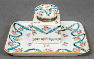 Continental Porcelain Inkwell, Late 19th C.