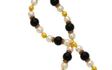 Diamond, Multi-Stone, Cultured Pearl, Gold Necklace The necklace is...