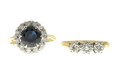 Diamond and sapphire cluster ring, estimated total diamond...