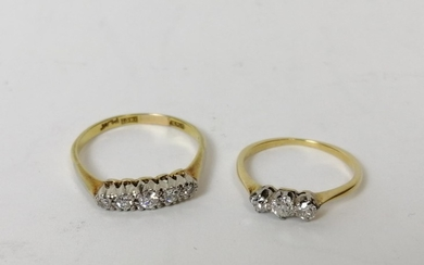 Diamond five stone ring and another three stone ring, '18ct ...