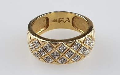Diamond ring - yellow gold 585, stamped, ring...