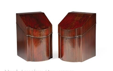English Mahogany Serpentine Front Knife Boxes