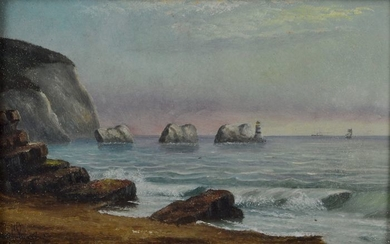 English school. (19th century) - A view of The Needles, Isle of Wight at dusk.