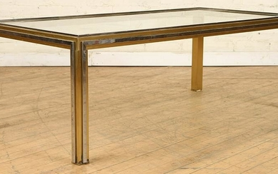 FRENCH BRASS STEEL GLASS TOP COFFEE TABLE C.1970