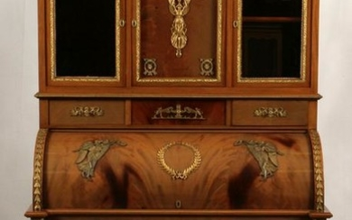 FRENCH EMPIRE STYLE CYLINDRICAL DESK/CABINET