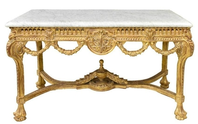 FRENCH STYLE MARBLE-TOP GILT CONSOLE TABLE