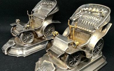 Fantastic Scale Models of Vintage Cars (2) - .800 silver - Italy - mid 20th century