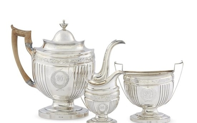 Federal three-piece silver tea service John McMullin (1765-1843), Philadelphia,...