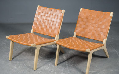 Finn Østergaard, lounge chair woven with harness leather (2)