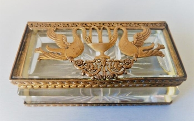 First Empire period heavy crystal and gilded bronze stamp box - Bronze, Crystal - Early 19th century