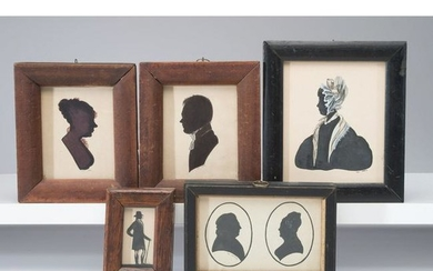 Five Painted Silhouettes on Paper, Signed Luci Isaacs