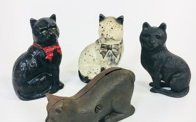 Four Cast Iron Cat Still Banks, ht. 4 1/2 in.