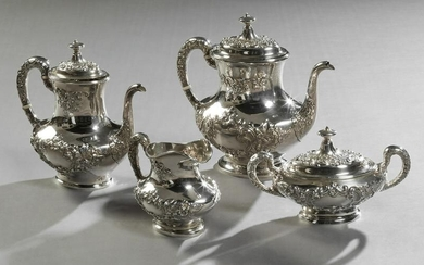 Four Piece Sterling Tea and Coffee Set, 20th c., by