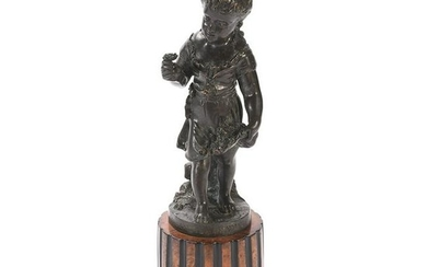 French Bronze Flower-Girl on a Burl Wood Base.