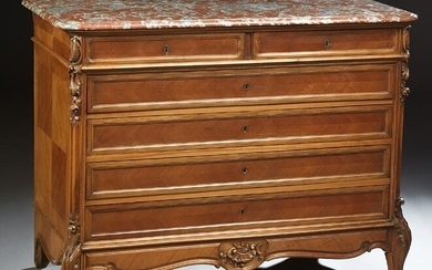 French Louis XV Style Carved Walnut Marble Top Commode