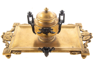 French Neoclassical Manner Bronze Desk Standish